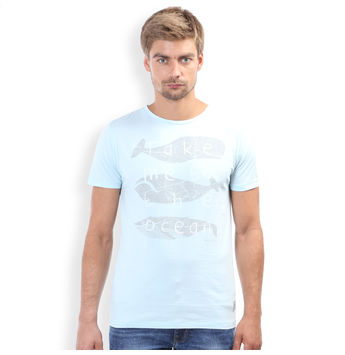 Slim Fit Casual T -Shirt, l,  sky blue