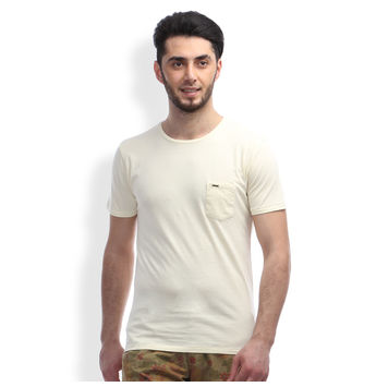 Slim Fit Casual T -Shirt, l,  off white
