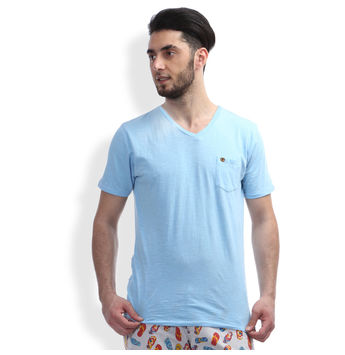 Regular Fit Casual T -Shirt, l,  pastel blue