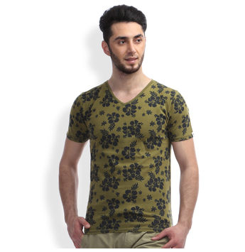 Slim Fit Casual T -Shirt, l,  combat green